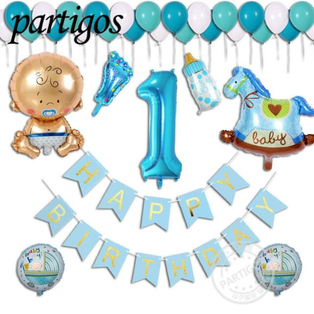 38pcs Lot Boy Girl 1 Year Old Happy Birthday Party Decoration Letter Latex Flag Banner Baby Shower Helium Aluminum Foil Balloon Design Craft