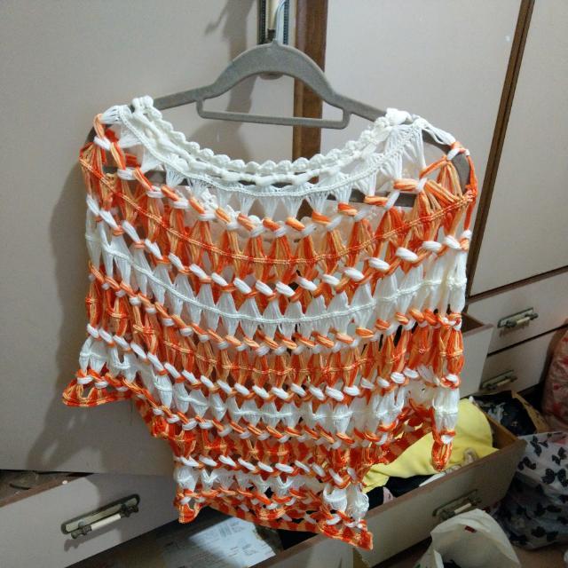 民族風橘色罩衫