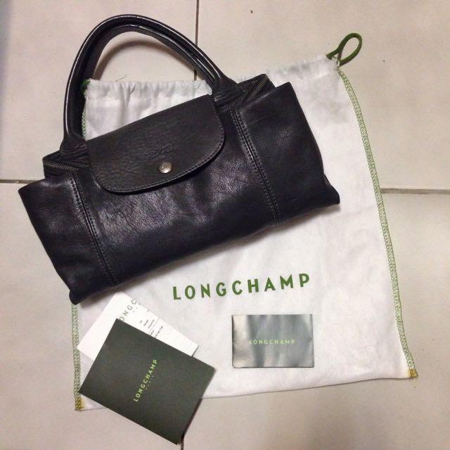 ⭐️真品 二手 Longchamp 深灰色 鐵灰色 百搭色 必備 羊皮 全配 斜背包 肩背包 手提包 三用包