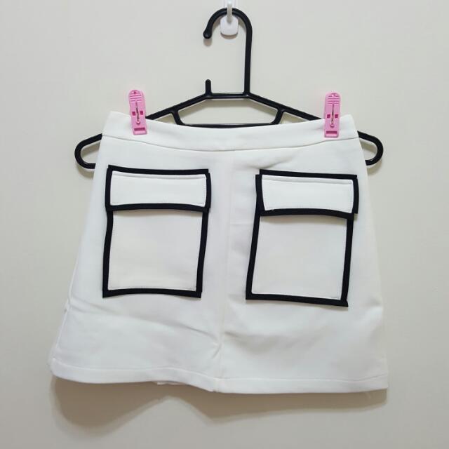 前立體口袋造型彈性窄裙