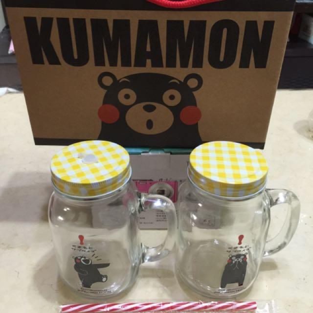 熊本熊玻璃罐 喝水收納兩用