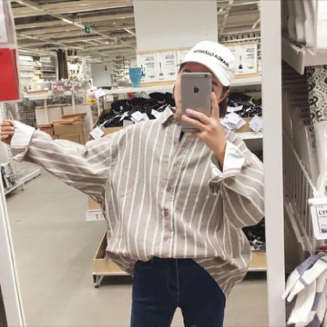 韓 寬鬆 男友 直條紋 襯衫