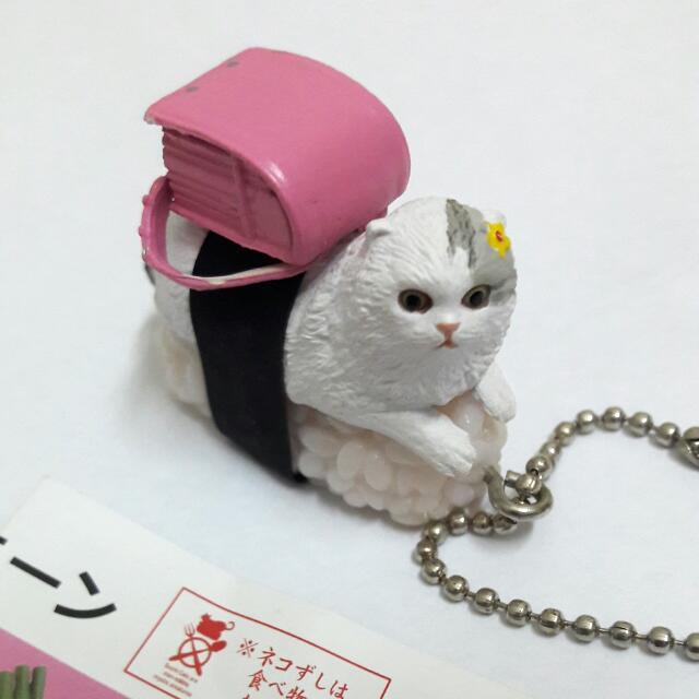 壽司貓  書包貓  白貓  扭蛋  轉蛋  擺飾  吊飾  療癒