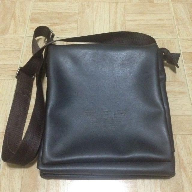 Armani Shoulder Bag| Brown Leather