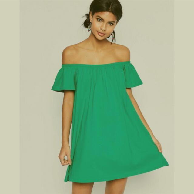 ASOS綠色平口一字領棉洋裝