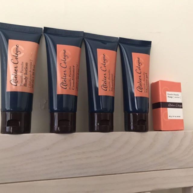 法國頂級香水atelier cologne歐瓏 pomelo paradis 柚香天堂 香氛沐浴旅行組