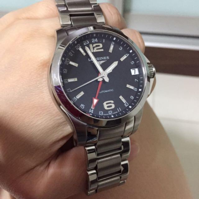8d488f4a58f Authentic Longines Conquest GMT 41mm Black Dial Men s Automatic Bracelet  Watch
