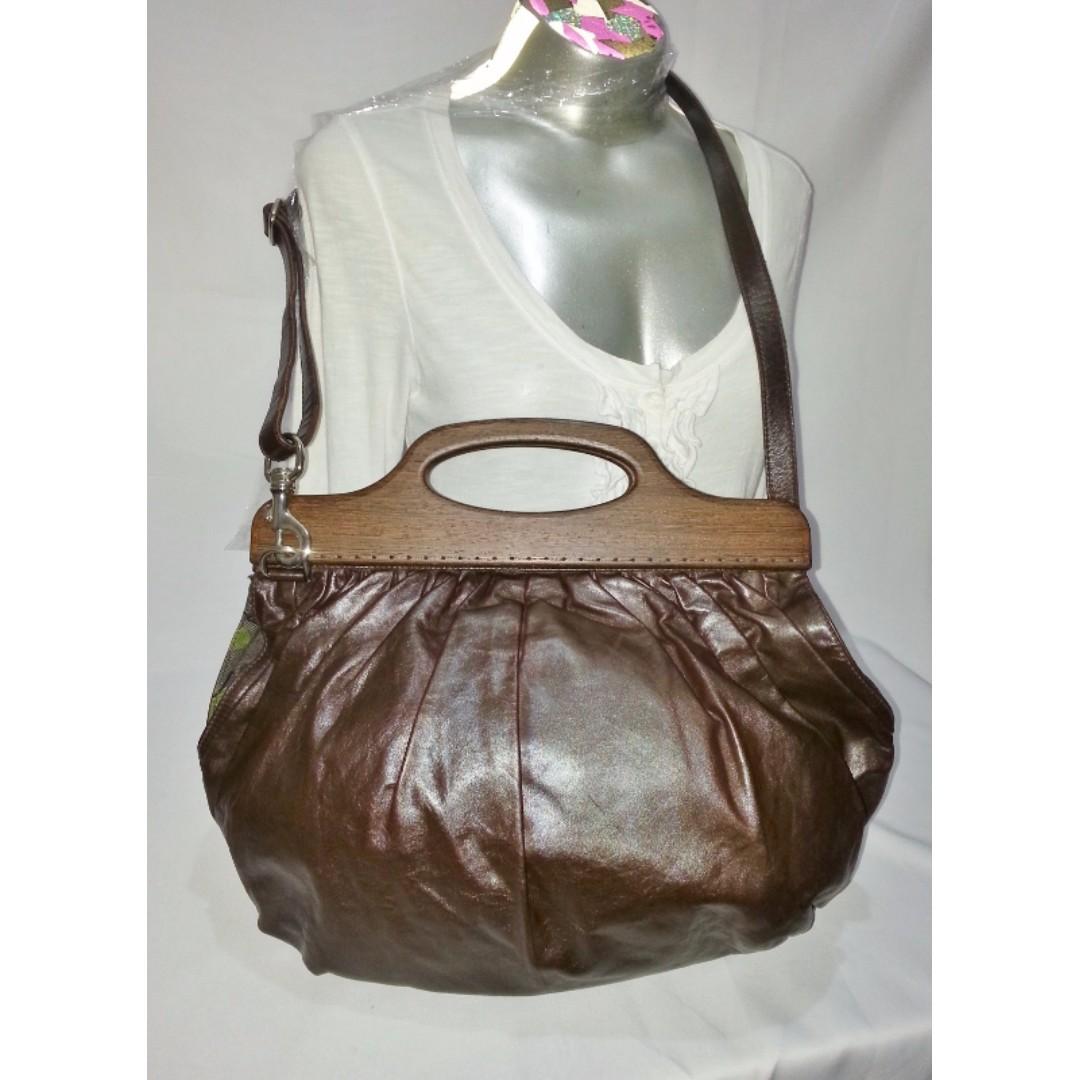 Authentic Miu Miu 2-Way Brown Leather Handbag