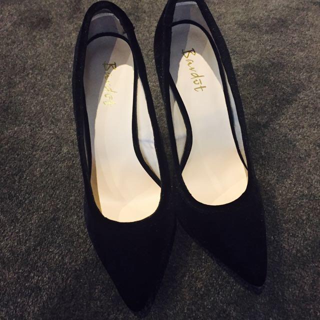 bardot sexy black heels
