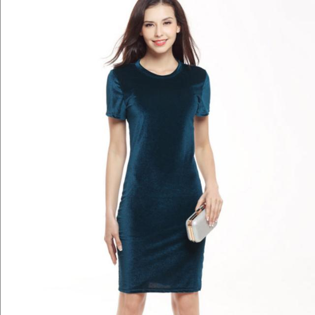 f14f28dead27 Belle Crushed Velvet Short Sleeve Office Smart Casual Dress