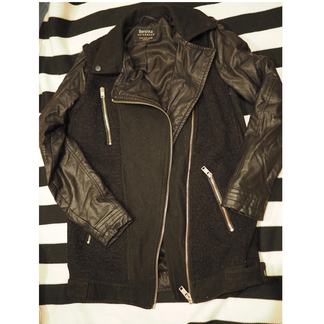 Bershka black sleeve faux leather sleeves jacket