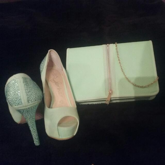 Betts Mint High Heels. Rinestones On The Heels, None Missing.  With Matching Bag, Selling As A Set. Worn Only Once.