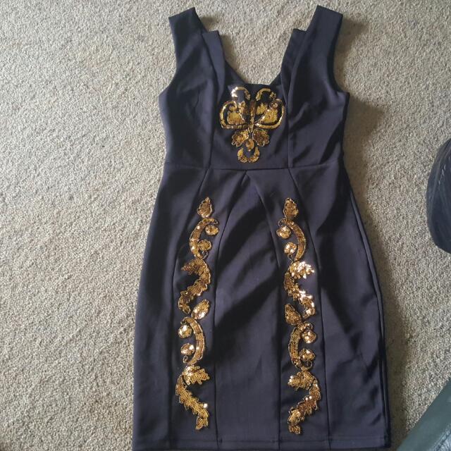 Black And Gold Pagani Dress