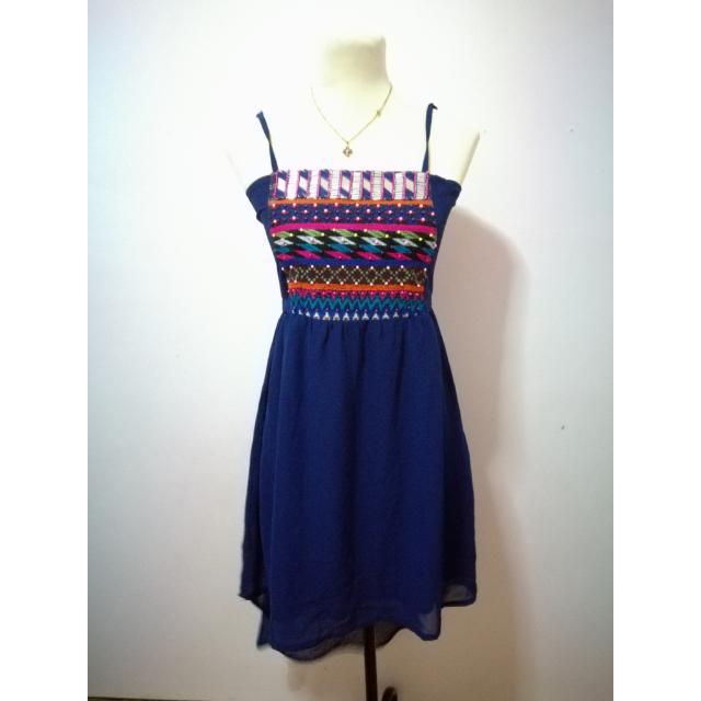 Blue Aztec Hi Low Dress