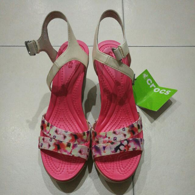 BN Crocs Leigh, Ankle Strap (Pink Florist Wedge)