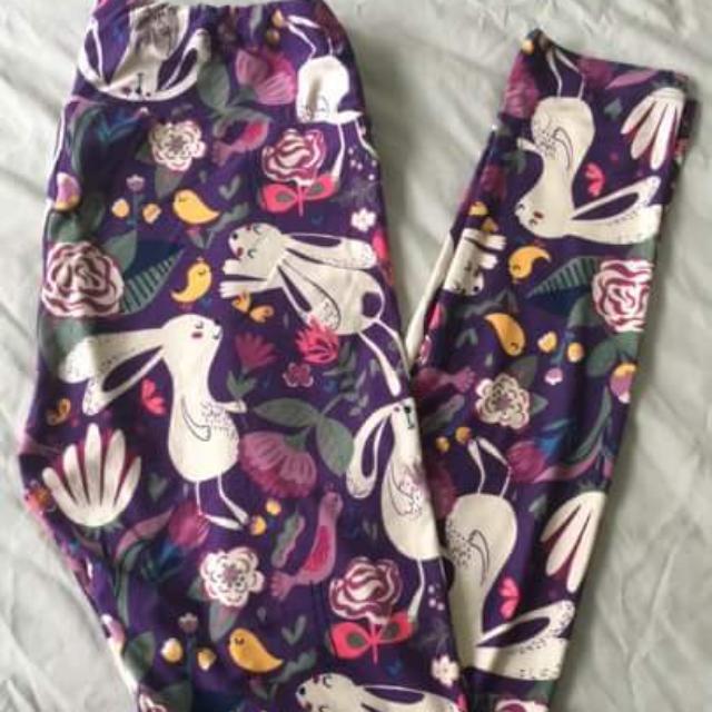 06d6082093a984 BNWT Lularoe OS Purple Bunnies (Upright) Leggings, Women's Fashion ...