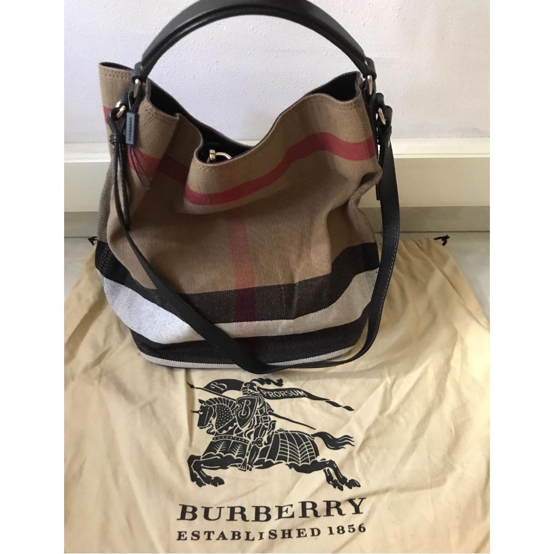 Burberry Ashby Medium Canvas Calfskin Hobo Bag 89f60f7058bbe