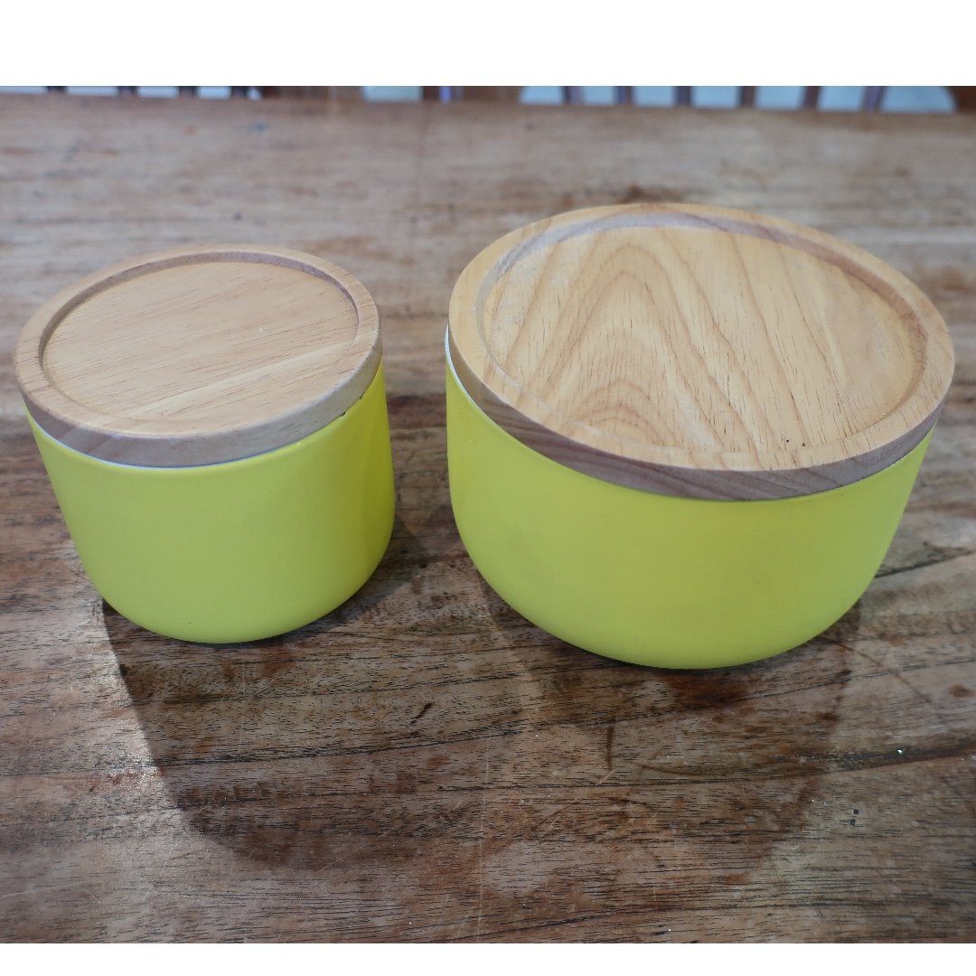 Ceramic Canisters - Matte Yellow with wooden lids