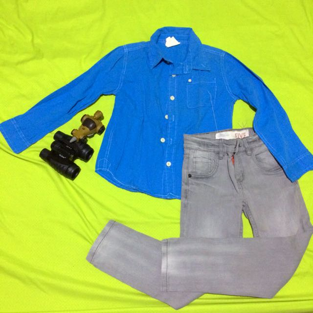 COTTON ON KIDS Blue Longsleeves | H&M Gray Pants