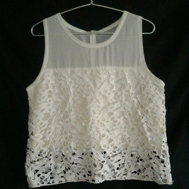 Cropped Off-white Sleeveless Lace Blouse from Zalora
