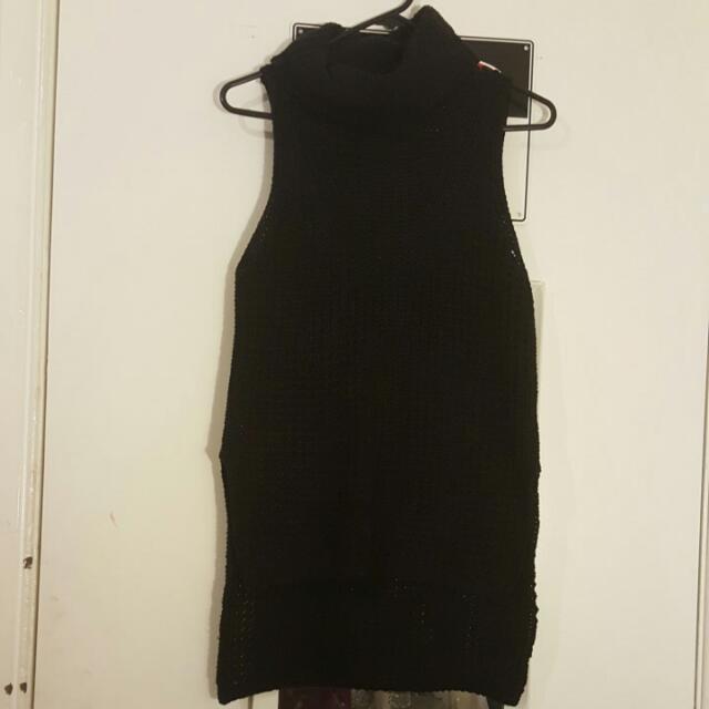 Dotti Black Turtle Neck Knit Size S