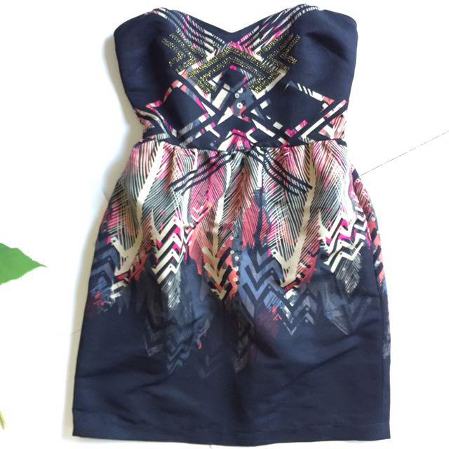 ECOTÉ strapless Dress With Bead Detail