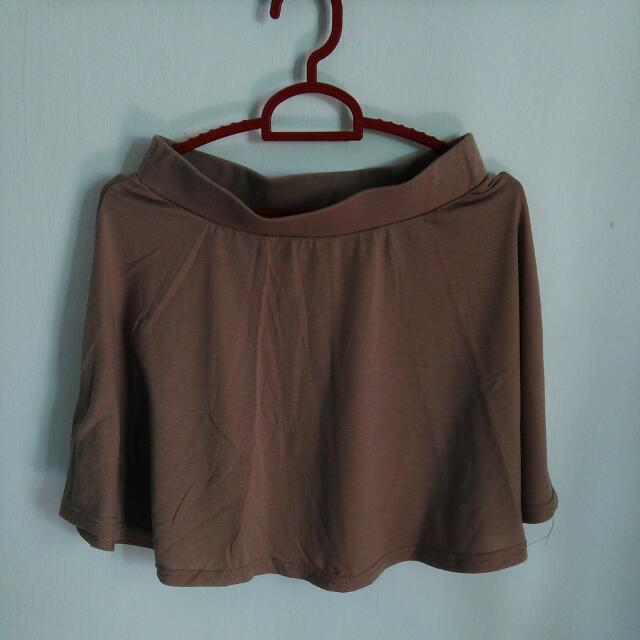 Flare Skirt Warna Coklat