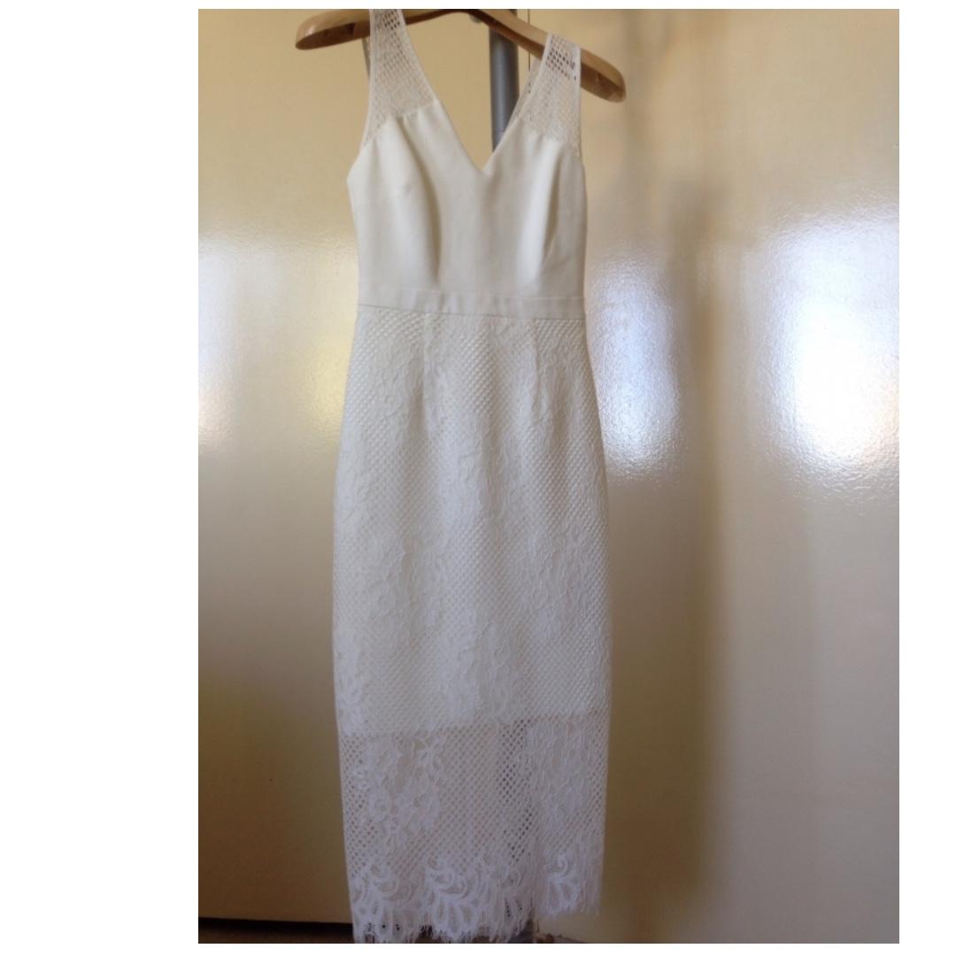 Forever New White Lace Bodycon Midi