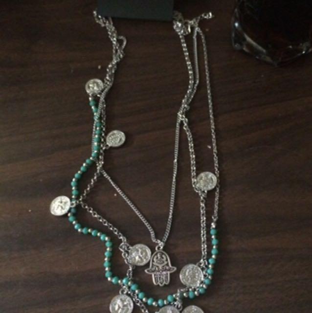 Hamsa and coin silver pendant Ardene canvas necklace