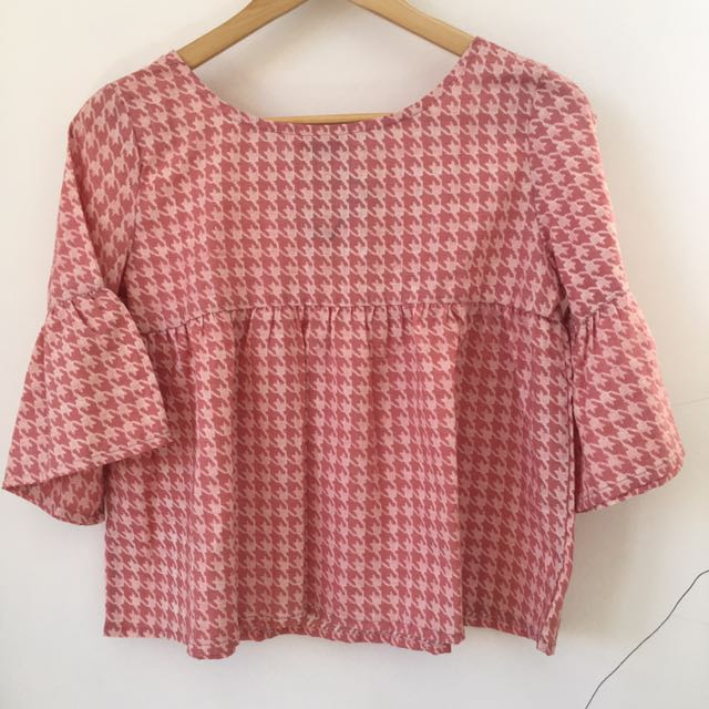 Houndstooth Blouse Pink