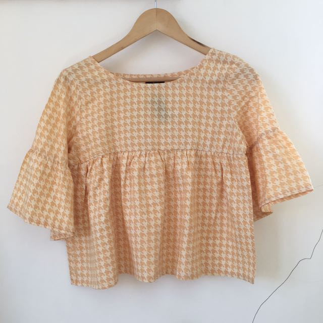 Houndstooth Blouse Yellow