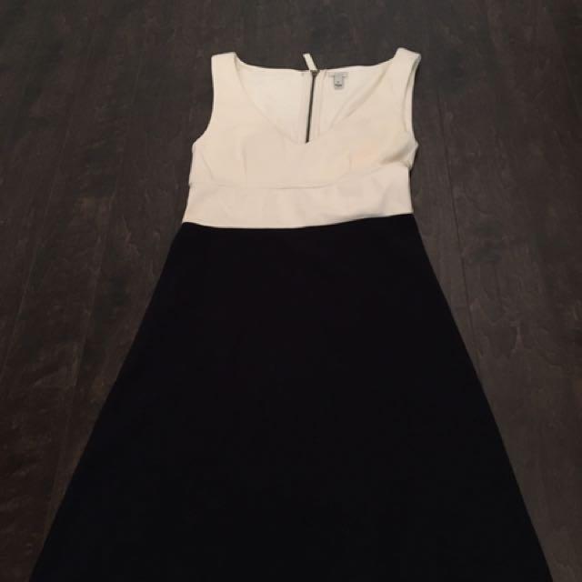 J Crew V-Neck Dress (Navy Blue and White)