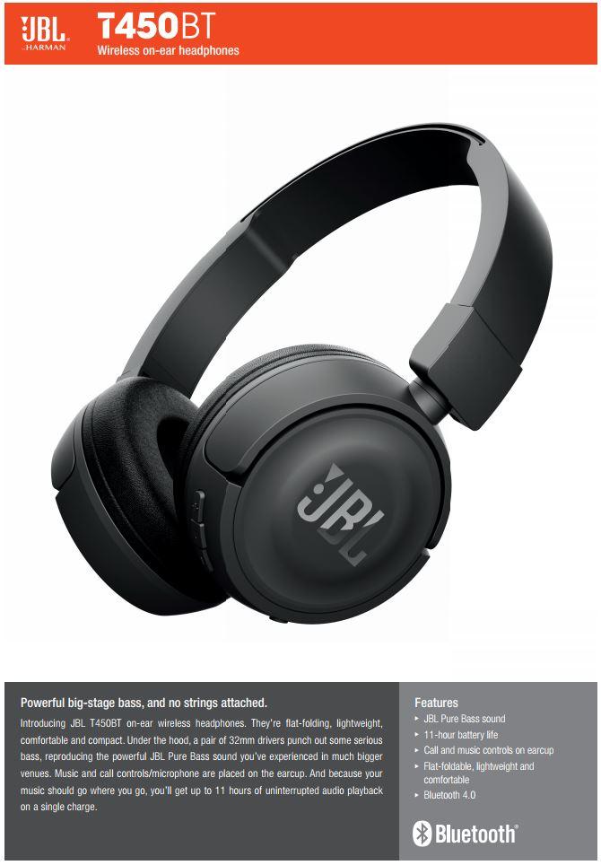 61cdb2727df JBL T450BT Pure Bass Sound Bluetooth Wireless On-Ear Foldable Headphones ( WHITE), Electronics, Audio on Carousell