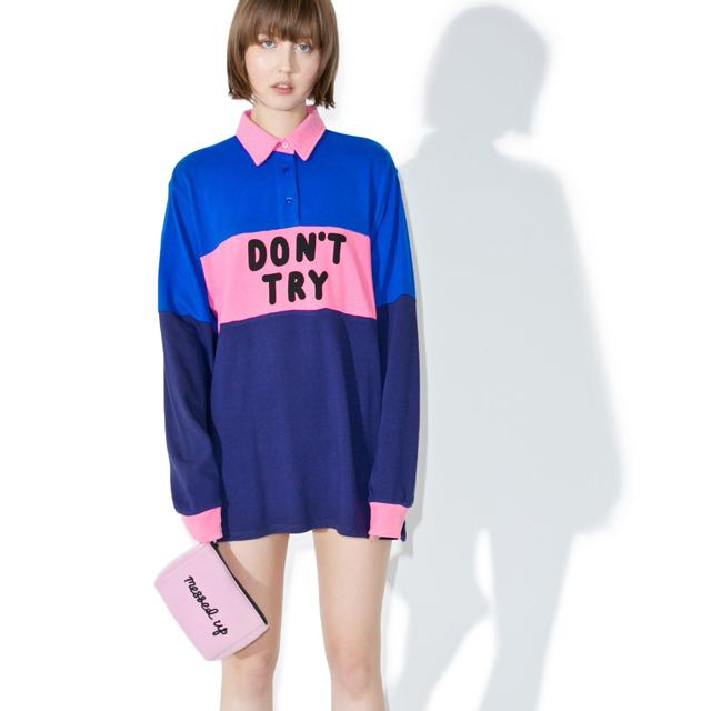 LAZY OAF DON'T TRY RUGBY JERSEY OS, Women's Fashion, Clothes, Tops on Carousell
