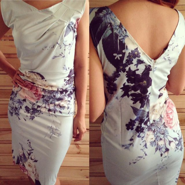 Light Blue Floral Office Dress