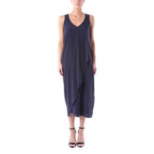 LXÉ Leather Detailed Navy Dress In Size 8