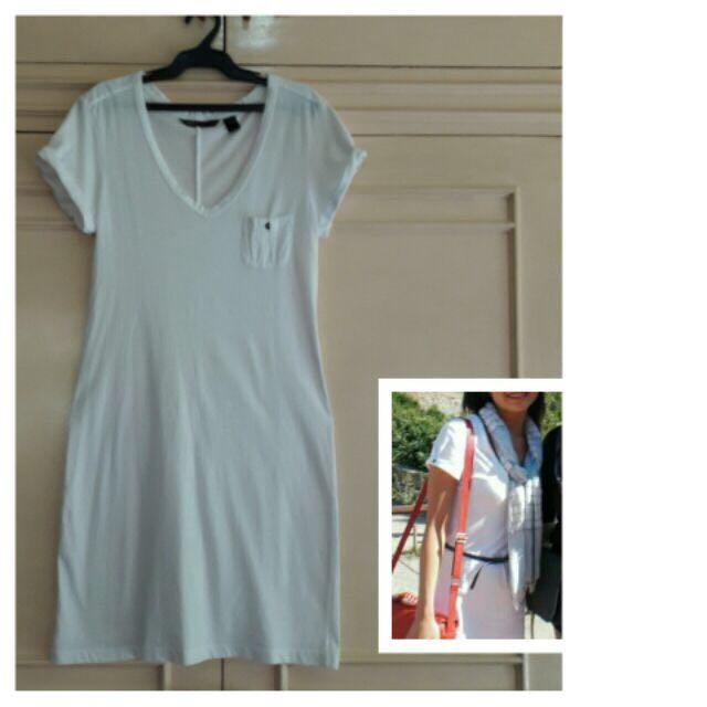Mango White Tshirt Dress