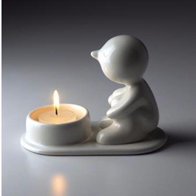 🕯泰國生活創意品牌Mr.P One Man Lonely白色陶瓷燭台.療癒置物盤