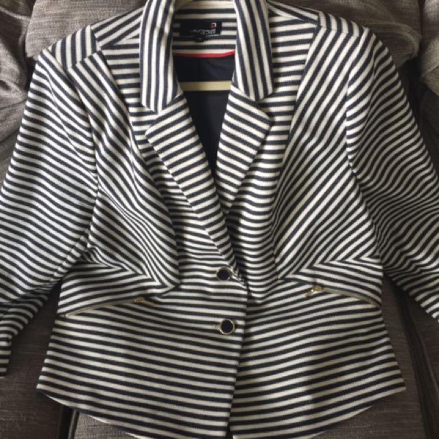 NAvy/white Stripe Blazer With Gold Accents