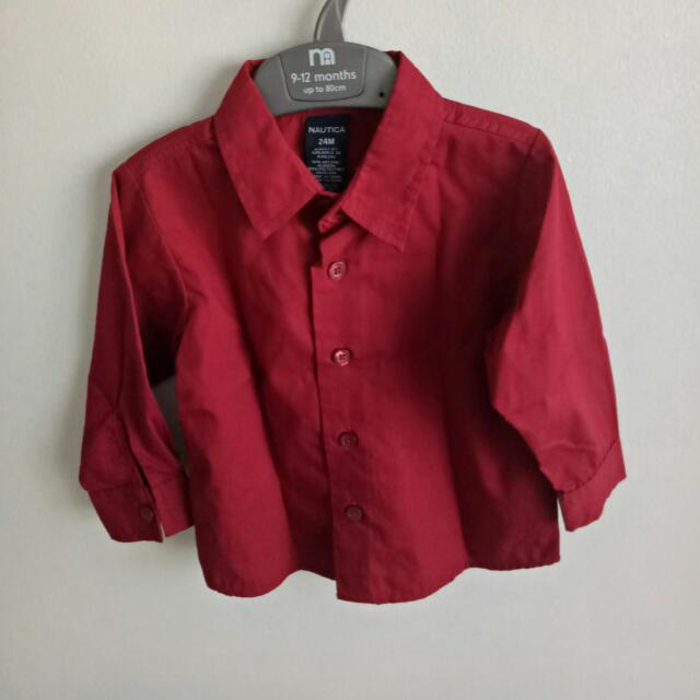 New!  Nautica Red Long sleeves  Size: 24 Mos