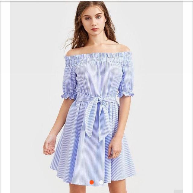Off Shoulder Stripe Dress