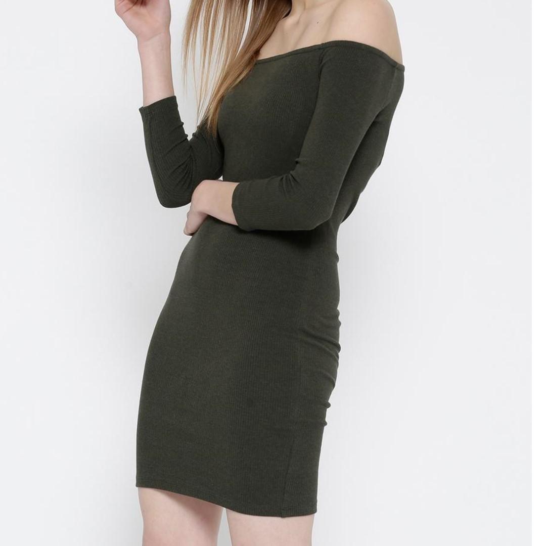 Olive Green Off-Shoulder Bodycon Dress