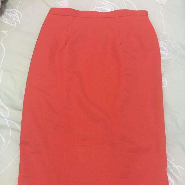 Orange Office Skirt