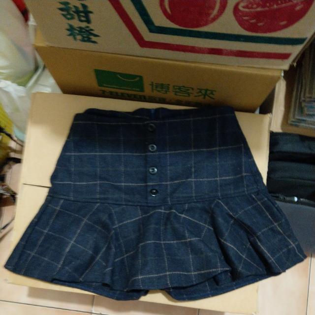 Orenda 藍色格子褲裙 S號