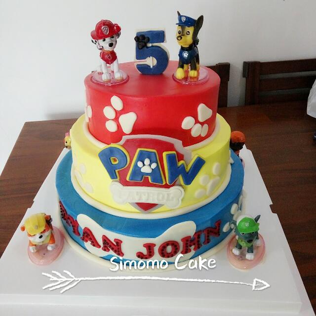 Paw Patrol Cream Cake Customized Birthday Cake Food Drinks Baked