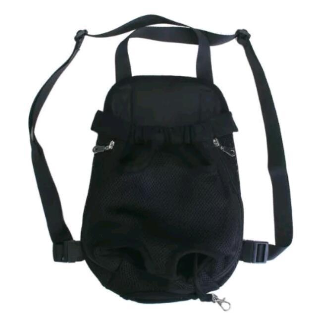 Pet Bag Dog Cat Carrier Five Holes Backpack Front Chest Backpack -Black, XL