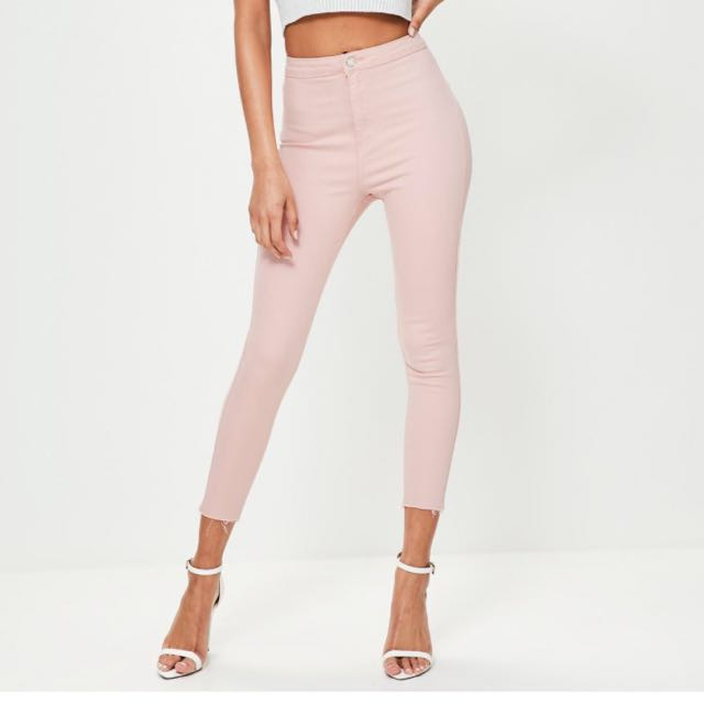 Pink Ankle Grazer Skinny Jeans
