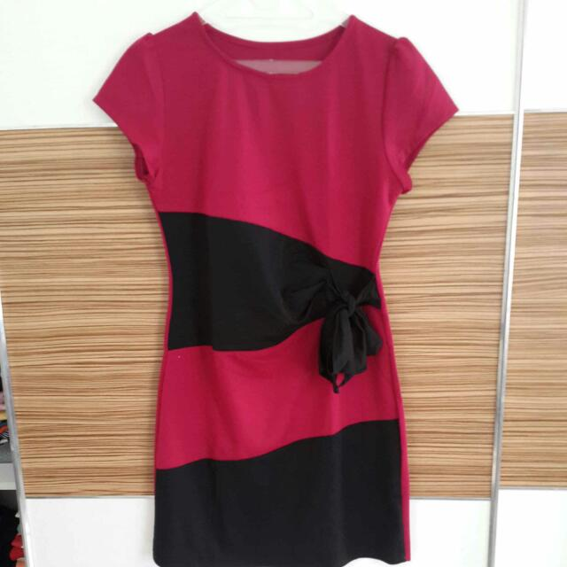 Pink Maroon Dress With Black Stripes