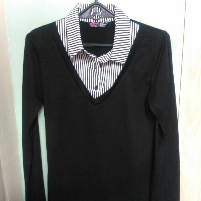 Preppy Black And White Office Longsleeves