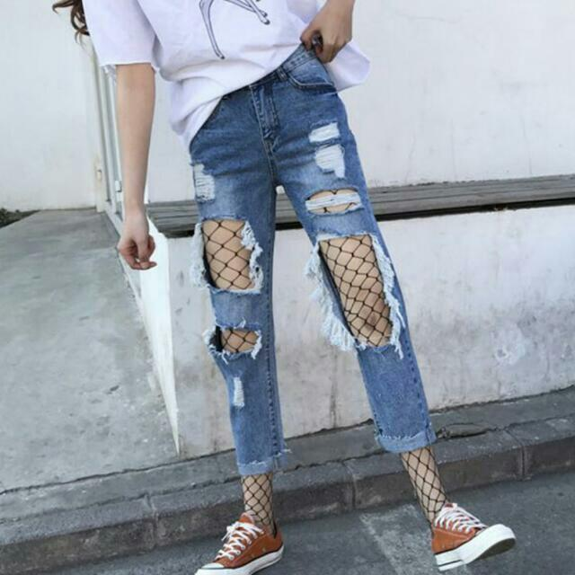 a3a135796fe628 Ripped Jeans With Fishnet Stockings Set, Women's Fashion, Clothes, Pants,  Jeans & Shorts on Carousell